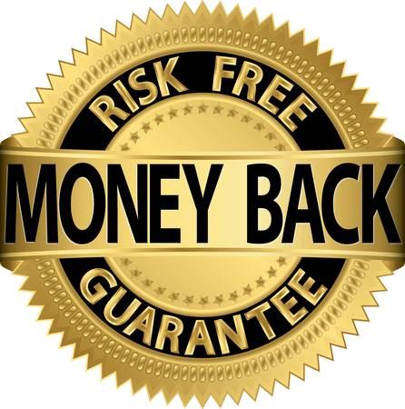 Garantía de devolver el dinero etiqueta de oro, la ilustración Ilustración de vector