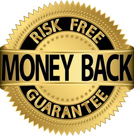 Risk Free: Money back guarantee golden label,  illustration Illustration