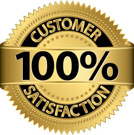 Customer 100 percent satisfaction golden label, vector illustration Vector Illustration