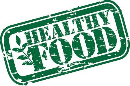 alimentos saludables: Grunge sello de goma comida sana, ilustraci�n vectorial