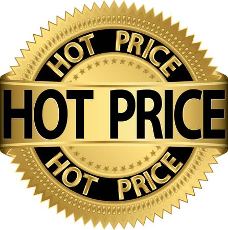 hot price: Hot price golden label, vector illustration