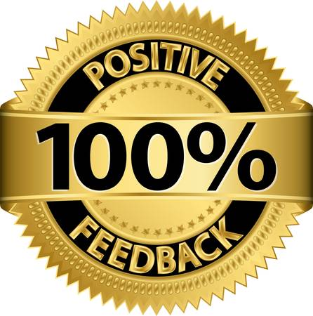 100 percent positive feedback golden label, vector illustration Vector