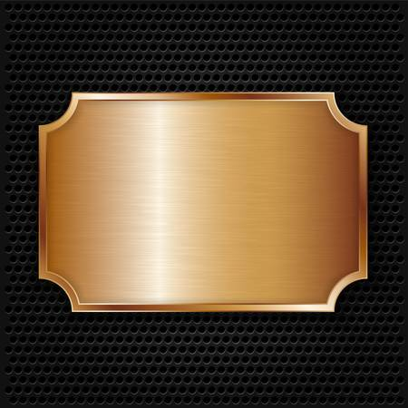 metal grid: Bronze texture plate, vector illustration