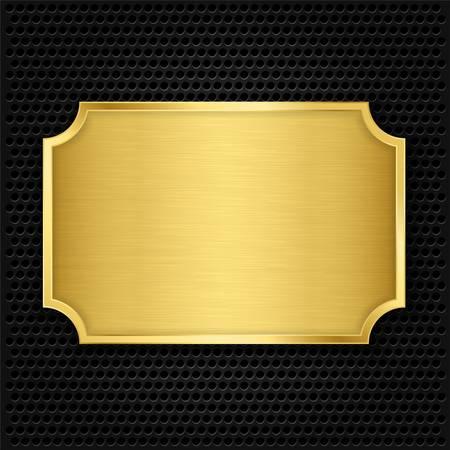 金: ゴールドのテクスチャ プレート、ベクトル イラスト