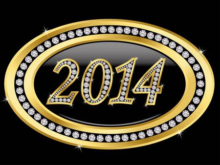 x mas parties: New year 2014 icon, golden with diamonds, vector