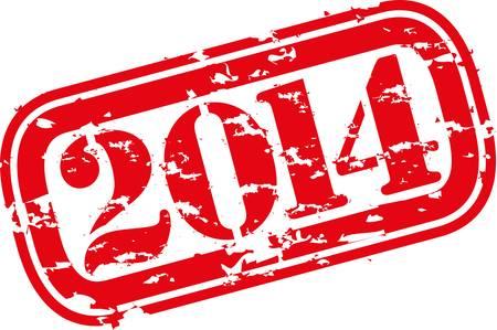 happy new year stamp: Grunge feliz a�o nuevo sello de goma 2014 Vectores