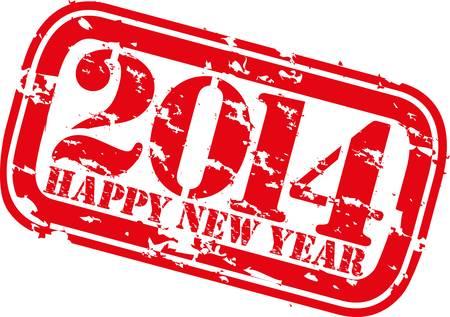 happy new year stamp: Feliz Grunge nuevo sello de goma 2014 a�os, ilustraci�n vectorial Vectores