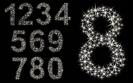 1 から 9 までの星の輝く数セット  イラスト・ベクター素材