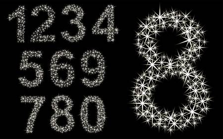 Number set of shining stars from 1 to 9 Stock Illustratie
