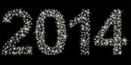 Gelukkig nieuw jaar 2014 gemaakt van vele sterren Stock Illustratie