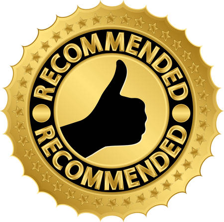 approval icon: Recommended golden label illustration