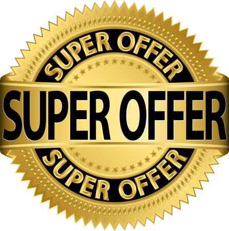 Super offer golden label illustration  Vector