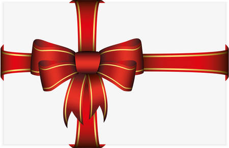 Red bow with ribbons, vector illustration Vector