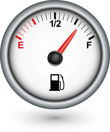 empty tank: Car fuel gauge, vector illustration Illustration