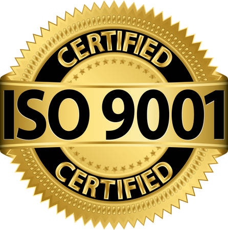 ISO 9001 인증 황금 레이블 일러스트