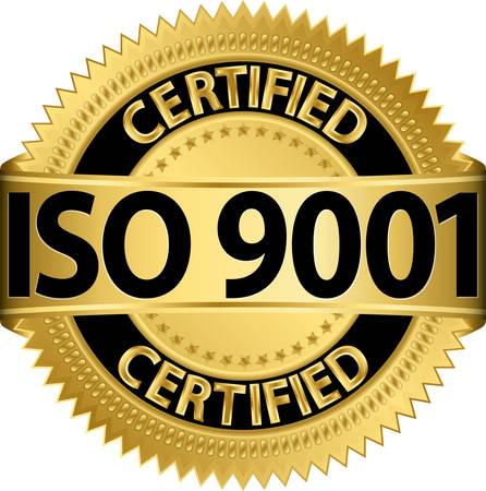 Sello de oro de la certificación ISO 9001 Foto de archivo - 24590178