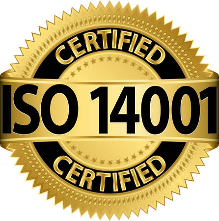 accredited: ISO 14001 certified golden label, vector illustration