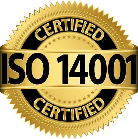 ISO 14001 certified golden label, vector illustration