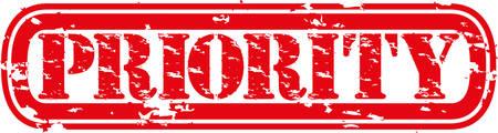 Tampon en caoutchouc priorité de grunge, illustration vectorielle