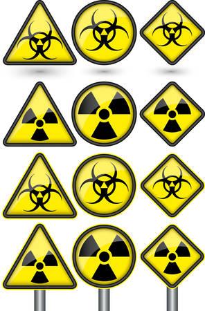 stop hand: Radiation sign, radiation symbol set vector illustration