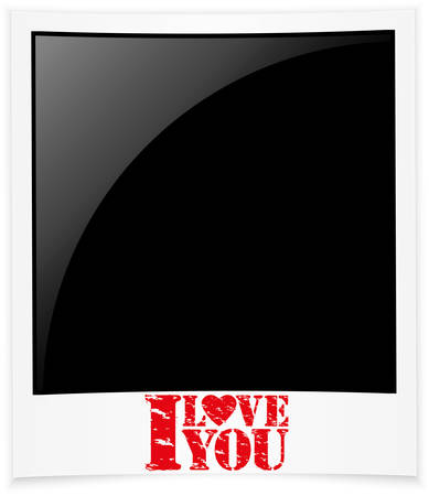 I love you photo frame, Happy Valentine s day greeting card illustration  Vector