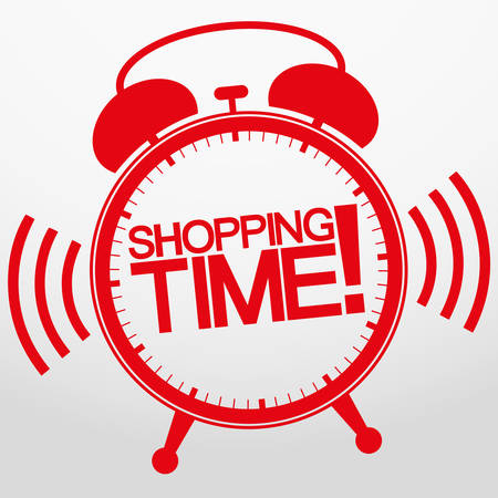tag: Shopping time alarm clock, vector illustration  Illustration