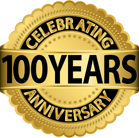 Celebrating 100 years anniversary golden label with ribbon, vector illustration