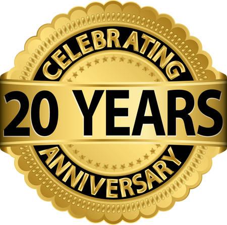 リボン付き 20 年記念日ゴールデン ラベルを祝って、ベクトル イラスト