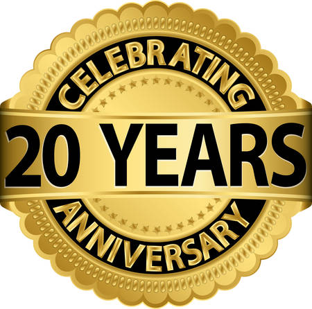 Celebrating 20 years anniversary golden label with ribbon, vector illustration