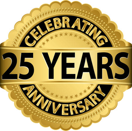 Celebrating 25 years anniversary golden label with ribbon, vector illustration  Stock Illustratie