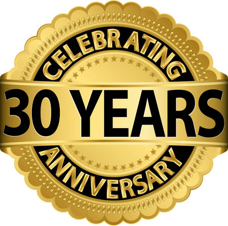 Celebrating 30 years anniversary golden label with ribbon, vector illustration  Illustration