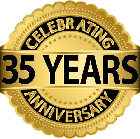 リボン付き 35 年記念ゴールデン ラベルを祝って、ベクトル イラスト
