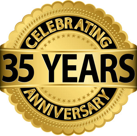 Celebrating 35 years anniversary golden label with ribbon, vector illustration