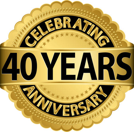 40: Celebrating 40 years anniversary golden label with ribbon, vector illustration
