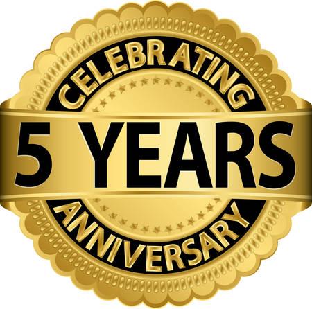 リボン付き 5 年記念日ゴールデン ラベルを祝って、ベクトル イラスト