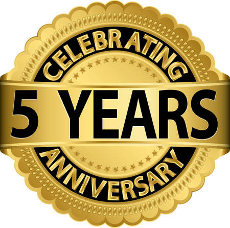 Celebrating 5 years anniversary golden label with ribbon, vector illustration