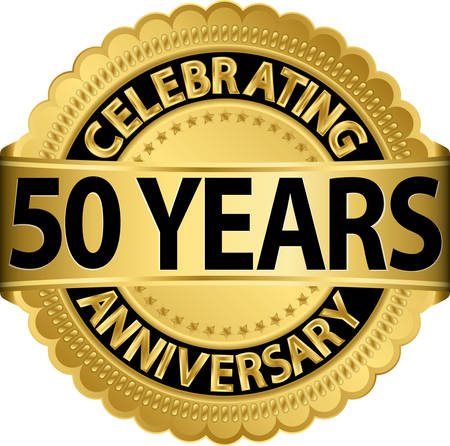 Celebrating 50 years anniversary golden label with ribbon, vector illustration