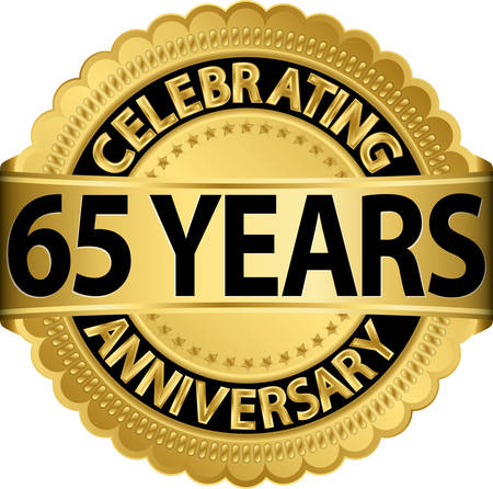 65th: Celebrating 65 years anniversary golden label with ribbon, vector illustration