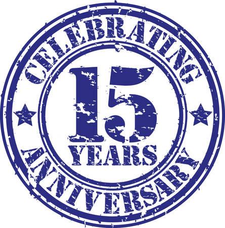 Celebrating 15 years anniversary grunge rubber stamp, vector illustration  일러스트