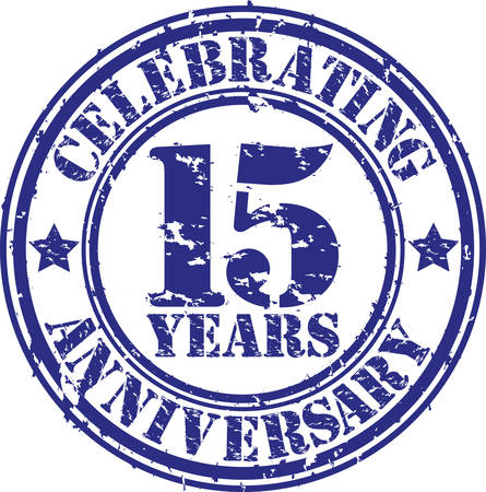 Celebrating 15 years anniversary grunge rubber stamp, vector illustration  Stock Illustratie
