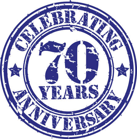 Celebrating 70 years anniversary grunge rubber stamp, vector illustration  Vector