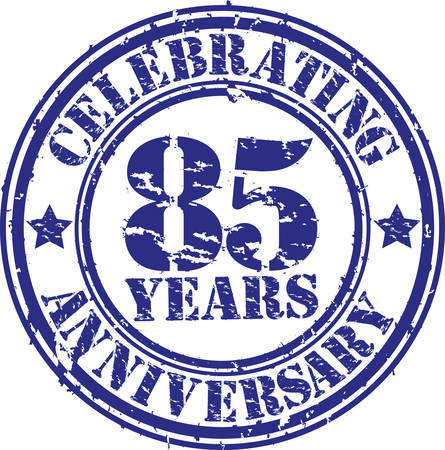 Celebrating 85 years anniversary grunge rubber stamp, vector illustration  Vector