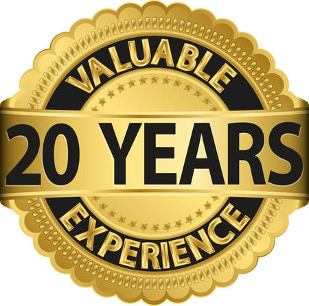 Valuable  20 years of experience golden label with ribbon, vector illustration  Vector