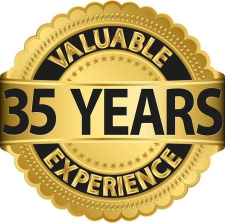 35 years: Valuable  35 years of experience golden label with ribbon, vector illustration  Illustration