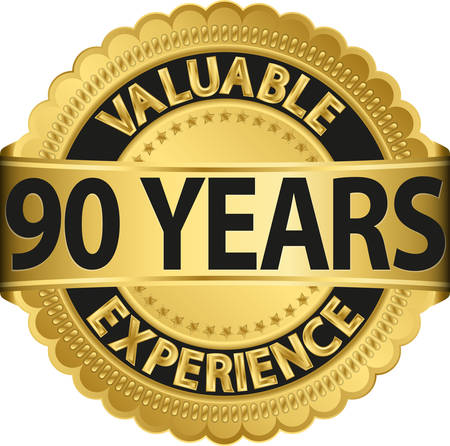 90 years: Valuable 90 years of experience golden label with ribbon, vector illustration