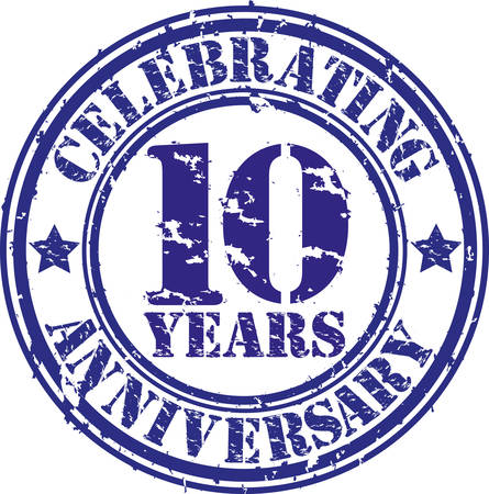 Celebrating 10 years anniversary grunge rubber stamp, vector illustration