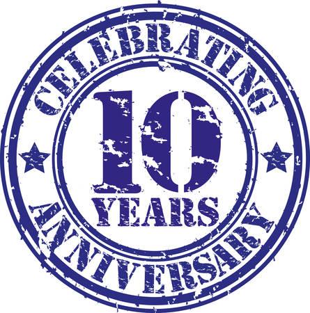 Celebrating 10 years anniversary grunge rubber stamp, vector illustration