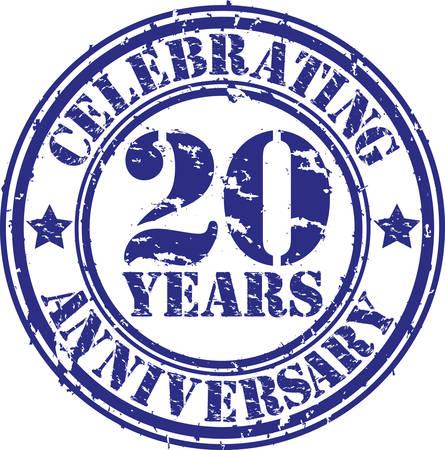 Celebrating 20 years anniversary grunge rubber stamp, vector illustration