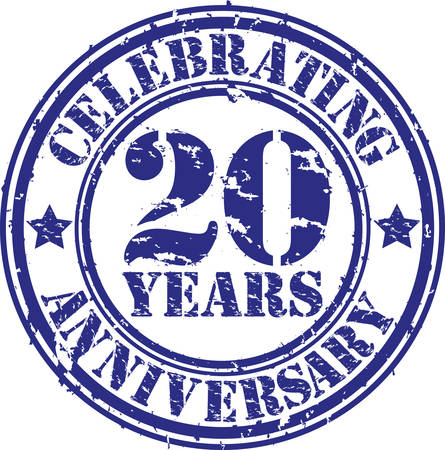 20th: Celebrating 20 years anniversary grunge rubber stamp, vector illustration