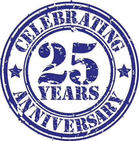 25 年周年記念グランジ スタンプを祝って、ベクトル イラスト